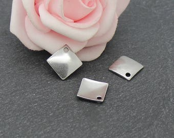16 charms sequin square 14 x 14 mm AC16 stainless steel