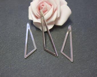 6 charms triangle brass Platinum 59mm x 13mm BRA10