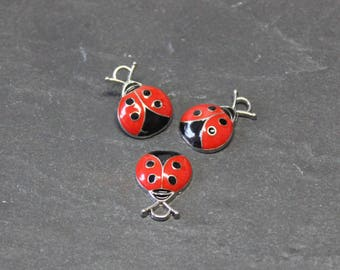 x 5 charm in silver enameled red and black Ladybug BR663