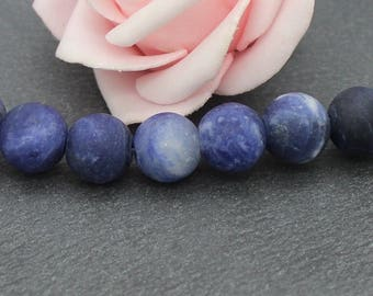 10 blue frosted sodalite beads 10 mm PG145