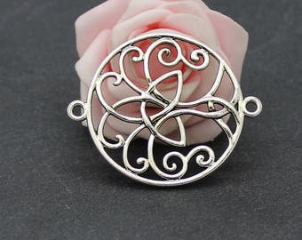 4 large connectors round Celtic knot in antique silver 49 x 40 mm COA270