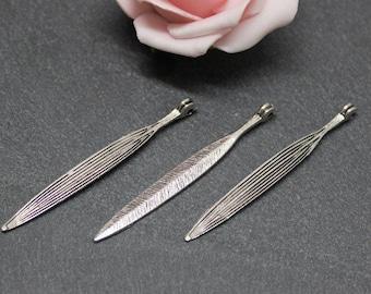 x 5 charm long leaves antique silver BRA281 56 mm