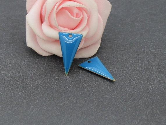 Creafirm 10 Breloques /Émaill/ées Losanges Double Face 25mm Couleur Turquoise