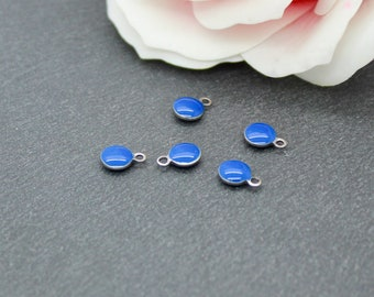 10 round 6 mm stainless steel enamel charms