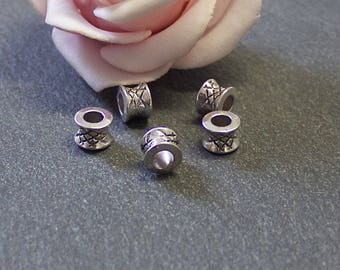 antique silver 7 x 5 mm PMA89 spool x 20 spacer beads