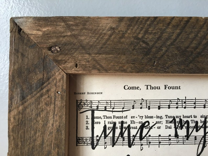 Wall Hanging Framed Reclaimed Wood Home Decor Hymnal Art Wall Hanging Come Thou Fount Hymn Hymn Decor