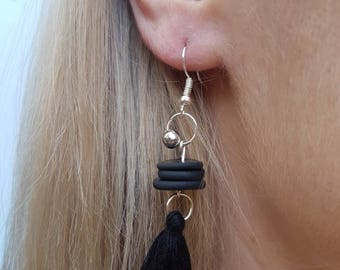 ClayCo Black polymer clay disc stacked earrings