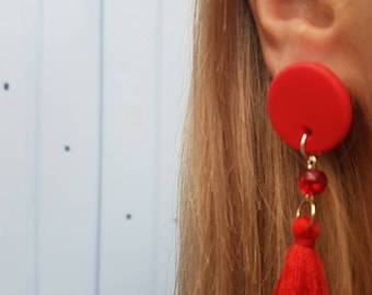 ClayCo Red polymer clay disc tassel earring