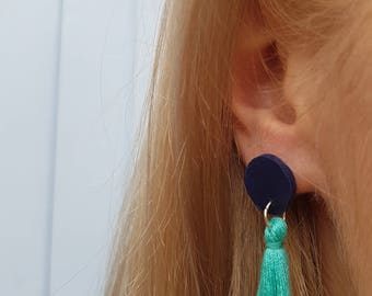 ClayCo Small polymer clay disc and tassel earrings - various colours
