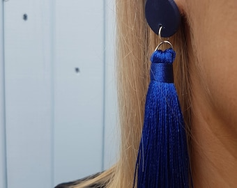 ClayCo Royal blue polymer clay disc earrings with x-large tassel