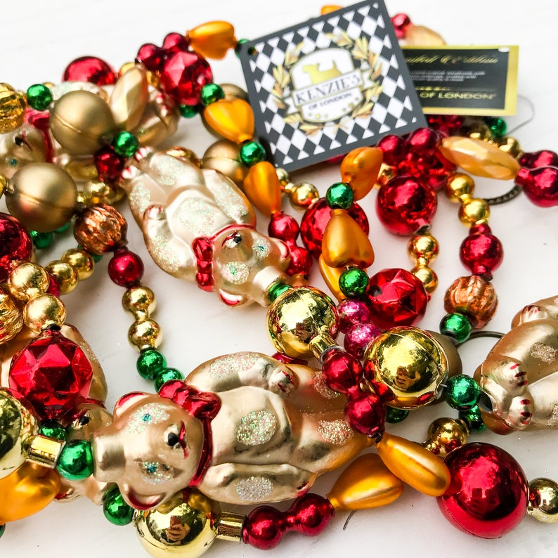 Beary Christmas Teddy Bear Red Gold Czech Blown Mercury Glass Christmas Garland Trees Mantles Wreath Home D\u00e9cor \u2013 Kenzie\u2019s of London