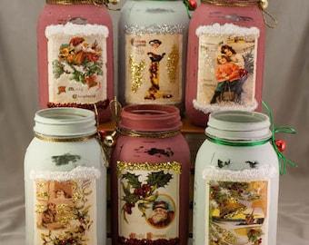 Christmas Mason Jars, vintage postcards, shabby chic, country decor