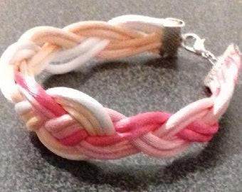 Pink braided bracelet