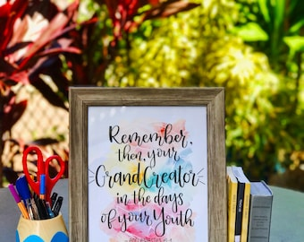 JW/ Ecclesiastes 12:1/ Baptism Gift/ Printable Quote/ Digital Print/ Typography/ Modern/ Watercolor