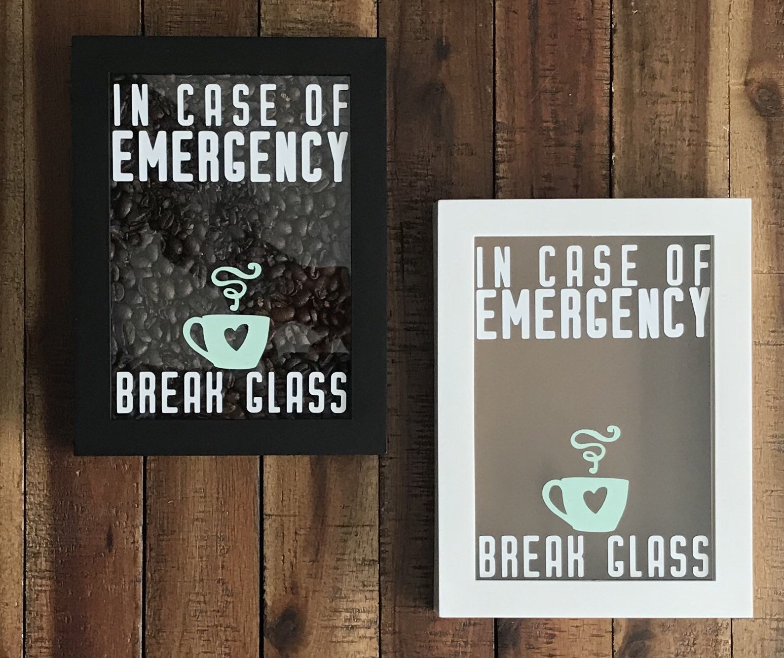 In Case Of Emergency Break Glass Filled with Coffee Beans