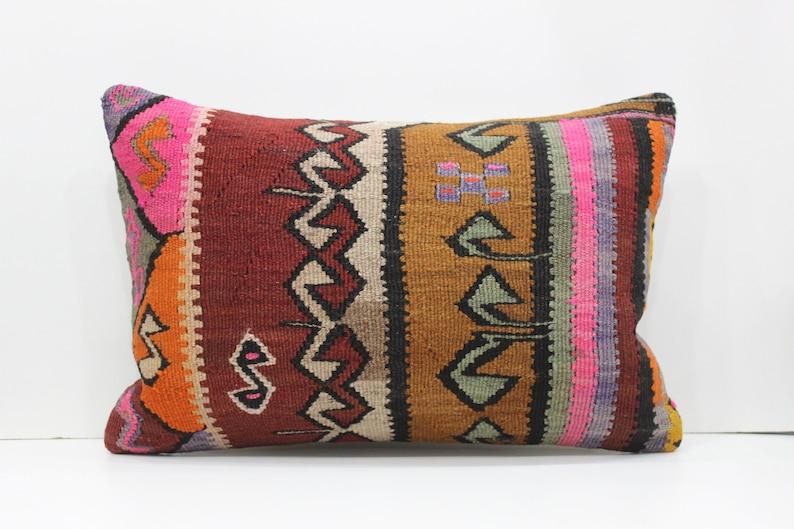 Boho Kilim Pillow Cover Turkish Kilim Pillow Cover 16x24 Wool Kilim Pillow Cover Cushion Cover Vintage Kilim Pillow Cover