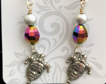 Mardi Gras glass bead earrings with tiny court jester dangles