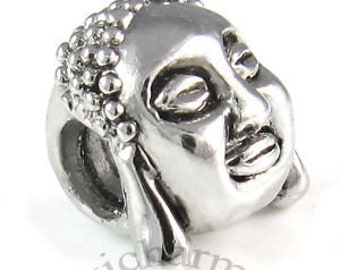 cd9ebd9bc Buddha Charm Bead Silver Fits Pandora and Other Snake Chain Charm Bracelet,  DIY Jewelry