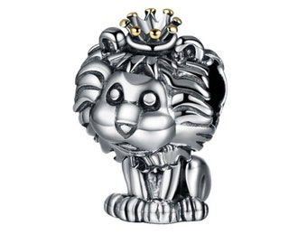ce21851ed Lion King Crowned 925 Sterling Silver Charm Fits Pandora and similar Charms  Bracelet