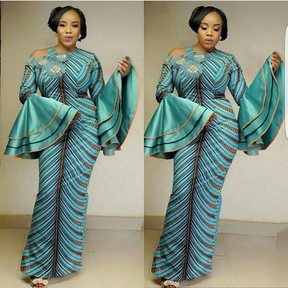 Vert Deau Africain Impression Robe Africaine Robe De Femme