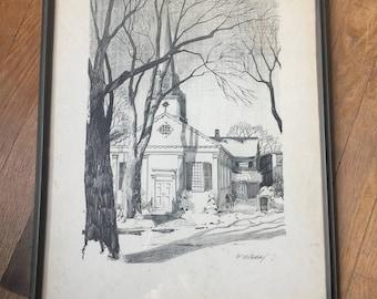 Christ church etsy roy e wilhelm lithograph of christ church hudson ohio malvernweather Gallery