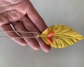 Gold fabric leaf, coral & pink beaded hair pin, hairpin, spray, vine, wedding, bridal, prom