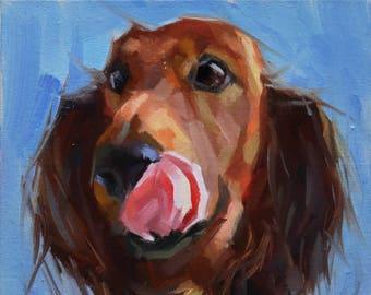 Pet Portraits, Original Dog Oil Painting, Animal Painting, Original Art, 6x6 in