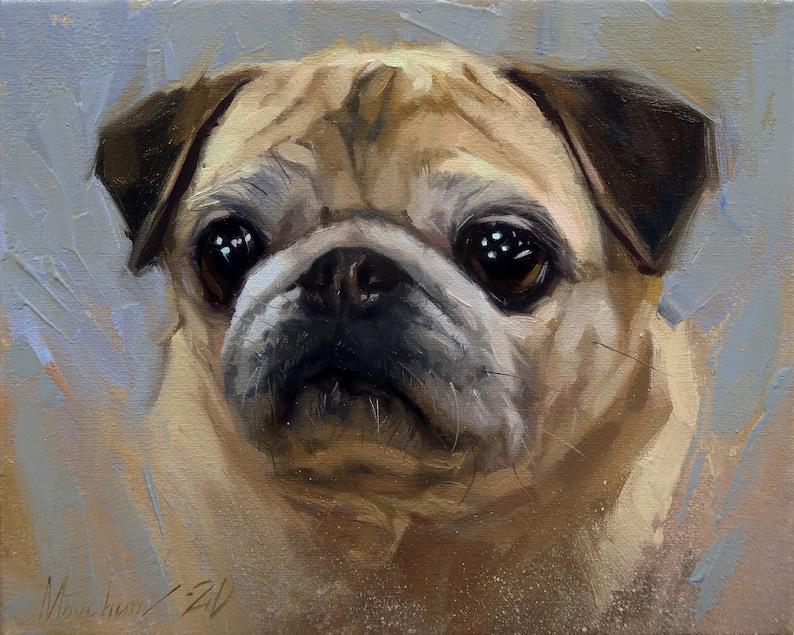 Custom pet portrait Dog painting Dog memorial Pet Loss Pug artwork Pet memorial picture Custom pet painting Pet painting Dog portrait