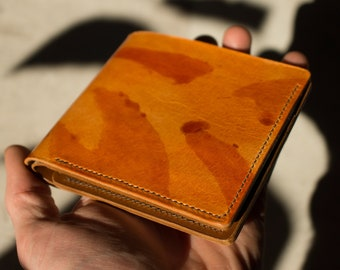 Vegetable tanning leather wallet, Natural leather, Unisex leather goods, handmade wallet