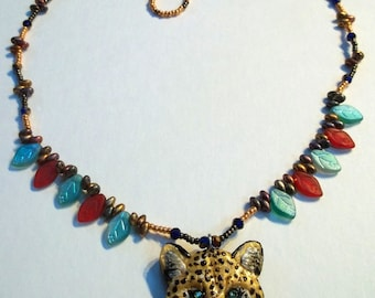 Hand Sculpted Polymer Leopard Necklace