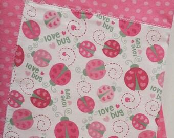 Pink Polka Dot Ladybug 100% Cotton Welcome Baby Blanket
