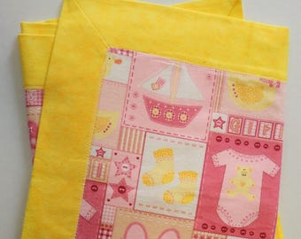 Pink & Yellow 100% Cotton Welcome Baby Blanket