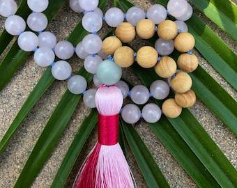 Gemstone Mala / Japa Mala / Sandalwood Mala / Mala Necklace / 108 Mala / Buddha Necklace / Mala Beads / Mala Beads 108 / Rose Quartz Mala
