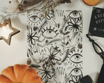 Inky Witchy Pattern Mini Print