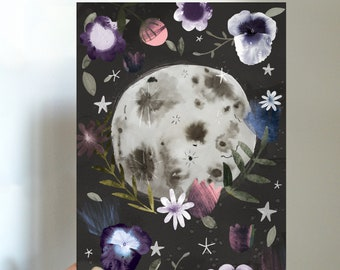 Full Moon Botanical Mini Print