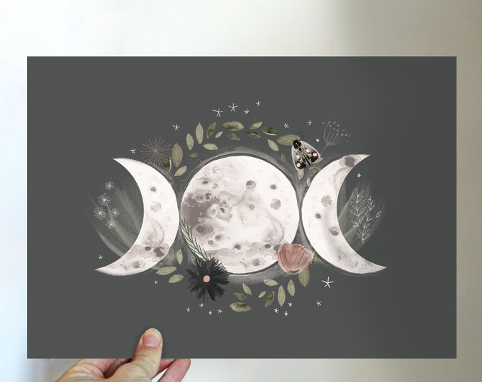 Triple Moon Goddess Print