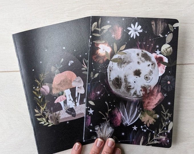 Featured listing image: Magickal Moon & Toadstools A5 Notebook Duo Set