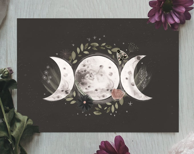 Featured listing image: Triple Moon Goddess Print