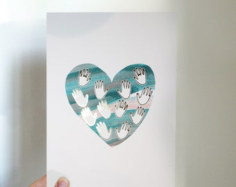 Hands On Heart Gold Foil Print