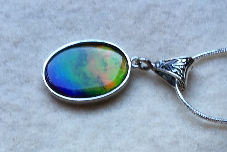 Green and Blue Red Ammolite Pendant