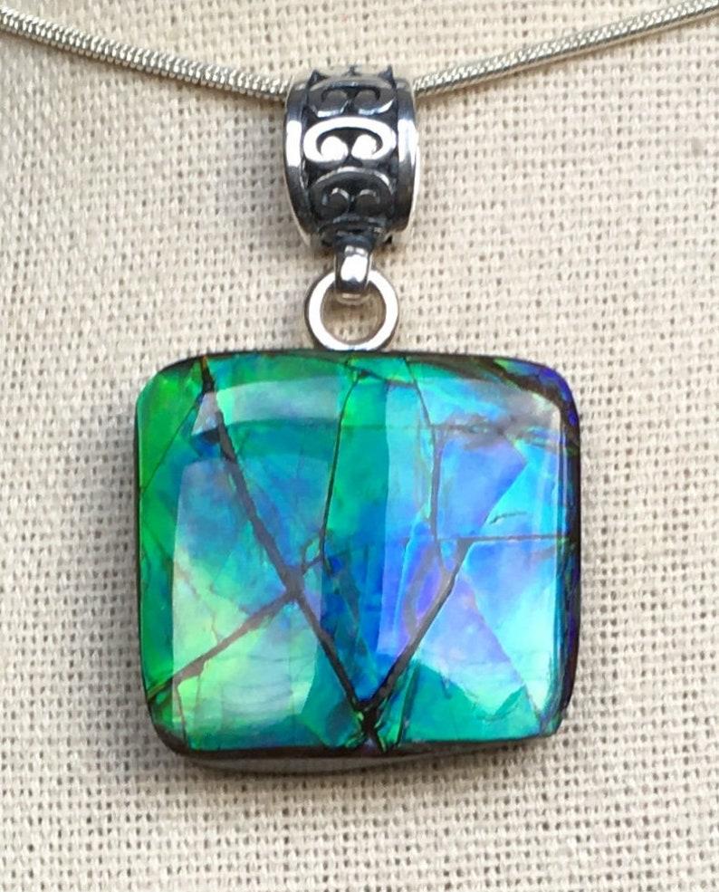 Blue and Green!! Ammolite Pendant