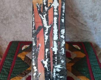 Landscape scene on wood