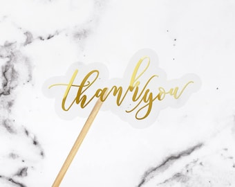 THANK YOU stickers / wedding favor stickers, envelope seals / Clear foiled real gold, rose gold or silver print / matt or glossy vinyl