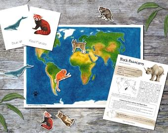 Endangered Species Around the World (Vol. 1: Mammals) | Homeschool Printable