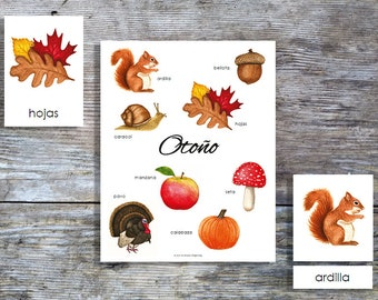 Spanish Autumn Mini Poster and Cards | Homeschool Printable | 3-Part Cards
