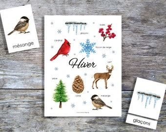 French Winter Mini Poster and Cards | Homeschool Printable | 3-Part Cards