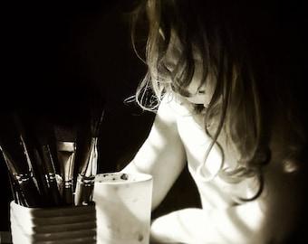Childhood Photography, Portrait Poster Print, Light Photography, Fine Art Photography, Black and White Photography, Original Photography