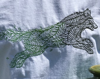 Leaping Leaf Wolf T-shirt