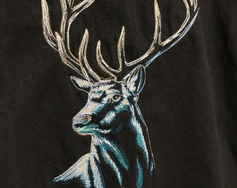 Moonlight Stag Deer Head  T-shirt