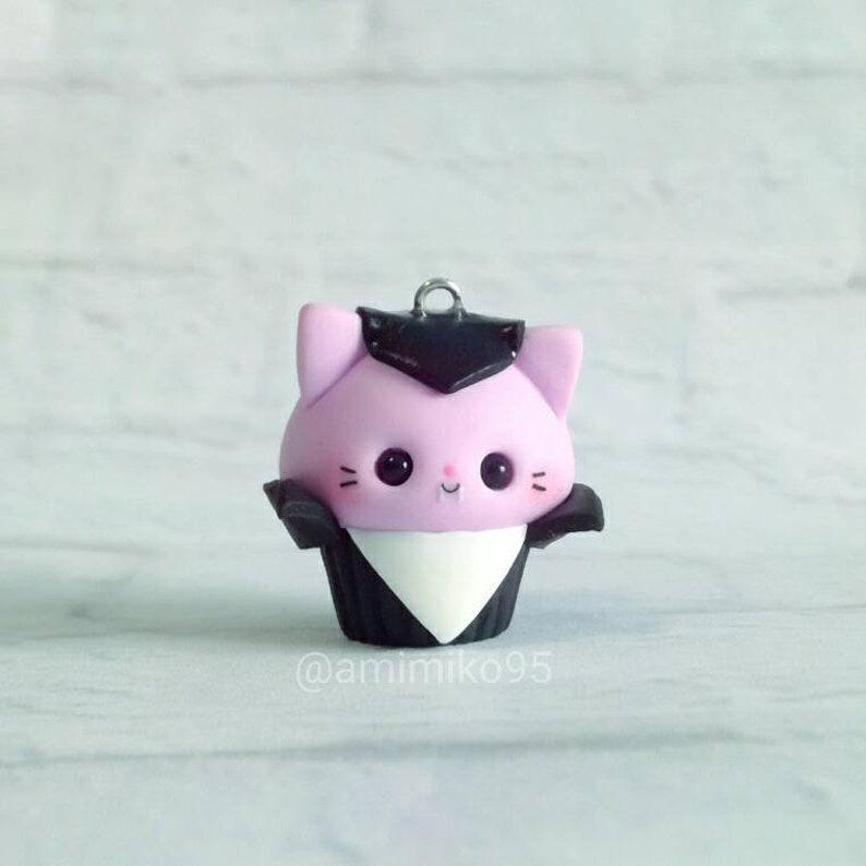 Kawaii Dracula Cupcake Charm - Kawaii Cat Charm - Kawaii Polymer Clay Charm  - Cute Charm - Baby Kawaii